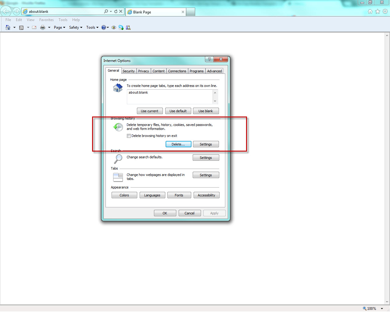 how to clear your cache in ie