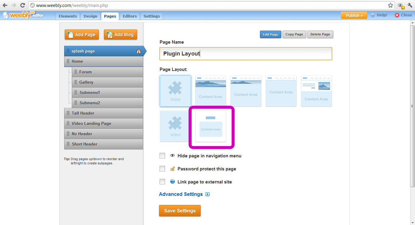 Weebly Plugin - How to select Splash Page Page Layout
